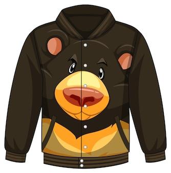 Frente da jaqueta bomber com padrão de urso preto