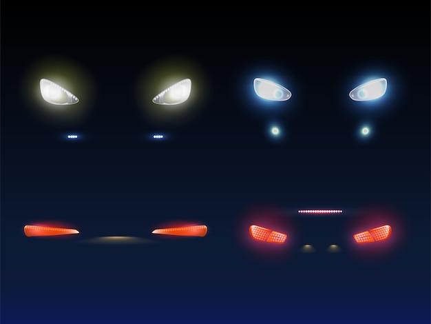 Frente de carro moderno, faróis traseiros brilhando vermelho, branco e azul na escuridão