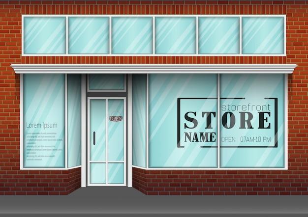 Frente de loja de design plano com lugar para nome de loja