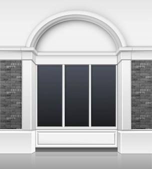 Frente de loja de edifício boutique boutique loja clássica com vitrine de janelas de vidro e lugar para nome isolado no fundo branco