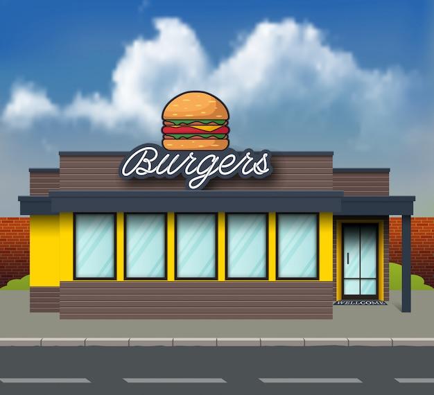 Frente de loja de hambúrguer design plano
