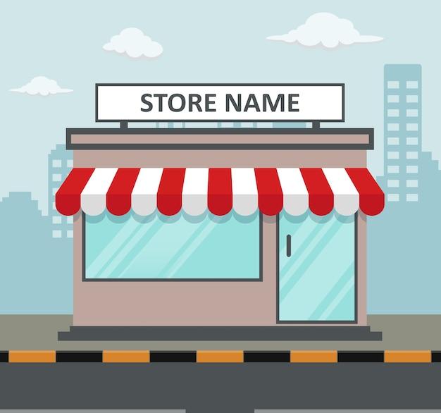 Frente de loja design plano com lugar para nome