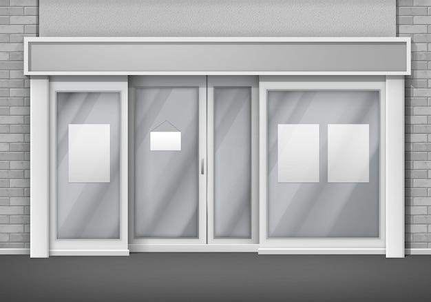 Frente de loja vazia com janelas grandes