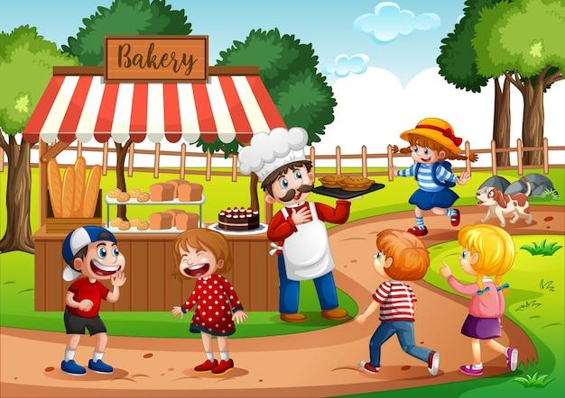 Frente de padaria com padeiro no cenário do parque