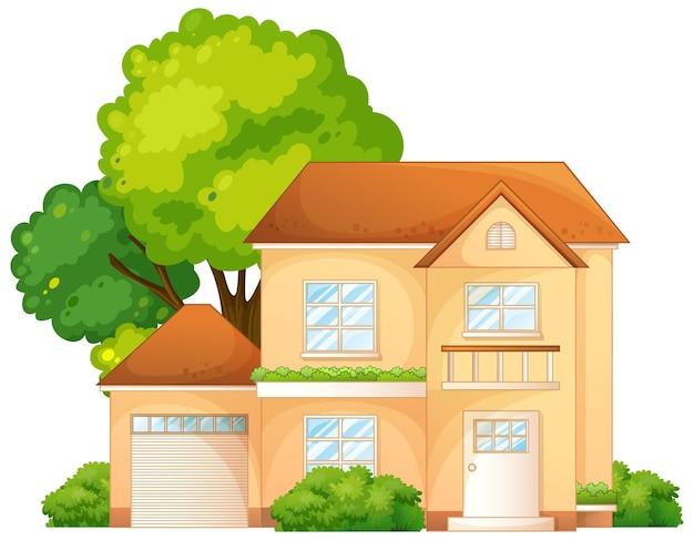 Frente de uma casa com várias ilustrações de árvores isoladas