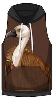 Frente do capuz sem mangas com padrão de abutre