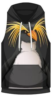 Frente do capuz sem mangas com padrão de pinguim