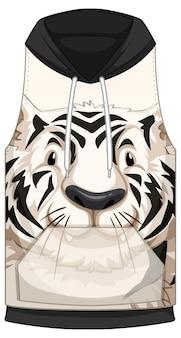 Frente do capuz sem mangas com padrão de tigre branco