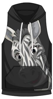 Frente do capuz sem mangas com padrão de zebra