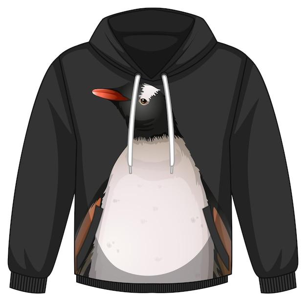 Frente do casaco com capuz com padrão de pinguim