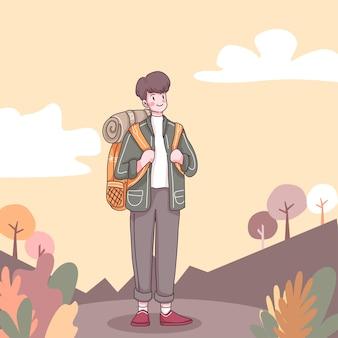 Frente do homem de aventura com mochila para caminhadas e escaladas em personagem de desenho animado, ilustração plana