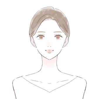 Frente e busto feminino. imagem de cuidados com a pele. sobre um fundo branco.