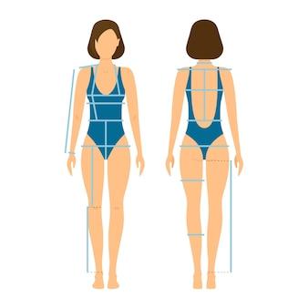 Frente e costas do corpo da mulher para medição.