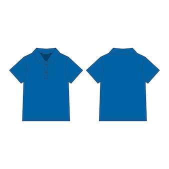 Frente e verso desenho técnico camiseta polo unissex.