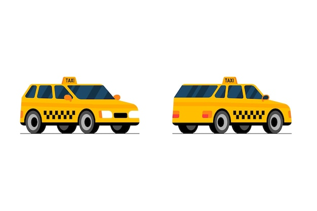 Frente e verso do carro de táxi, vista em perspectiva, táxi amarelo, cidade, serviço, transporte, conjunto, plano, vetorial
