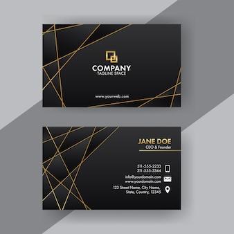 Frente e verso do design de cartão de visita com linhas douradas na cor preta