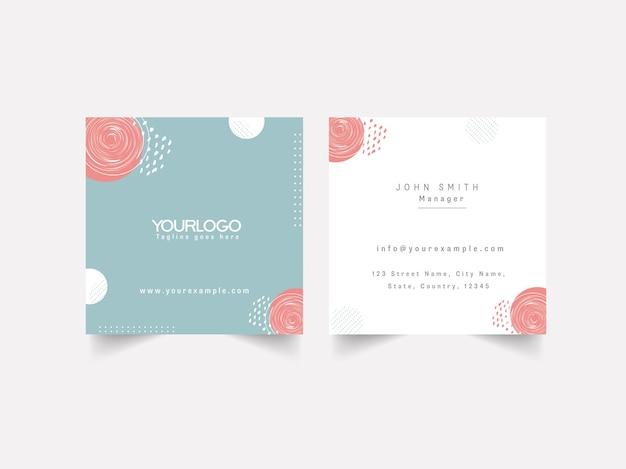 Frente e verso do design de cartão de visita editável em fundo branco.