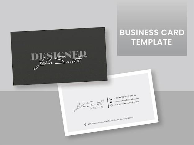 Frente e verso do layout do modelo de cartão de visita na cor preto e branco.