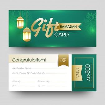 Frente, e, vista traseira, de, ramadan, cartão presente, com, penduradas, ilumine