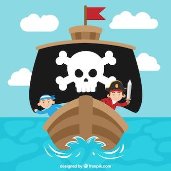 Frente, pirata, navio, fundo