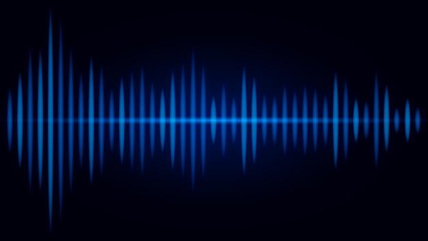 Freqüência azul da onda sonora em fundo preto. ilustração sobre visual do áudio.