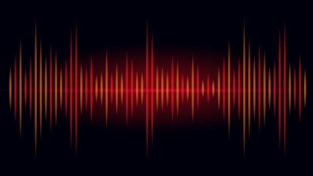 Frequência na cor vermelha e laranja da onda sonora em fundo preto. ilustração sobre visual do áudio.