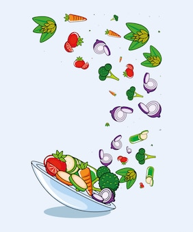 Fresco e delicioso conjunto de legumes