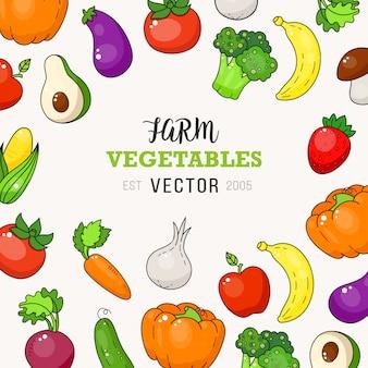 Fresco, fazenda, vegetal, doodle, ilustração