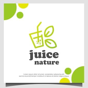 Fresh juice nature juice logo design template vector, emblema, conceito design, creative symbol, icon