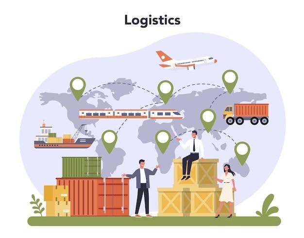 Frete aéreo e indústria logística. serviço de transporte de cargas.