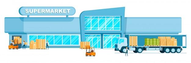 Frete de descarregamento do caminhão do armazém no supermercado