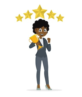 Frican empresária conceito vencedor sucesso. animado sorrindo fêmea dos desenhos animados, levantando o troféu.