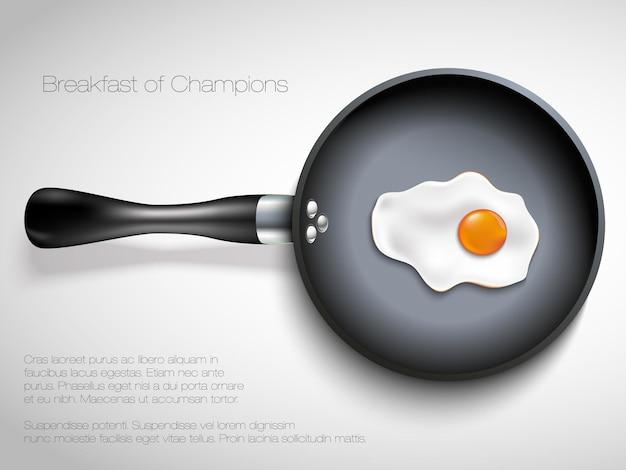 Frigideira com ovo. Vetor Premium