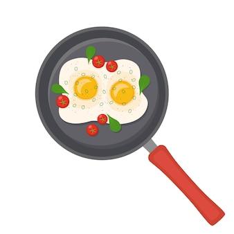 Frigideira com ovos fritos, tomate, verduras no fundo branco, ilustração vetorial