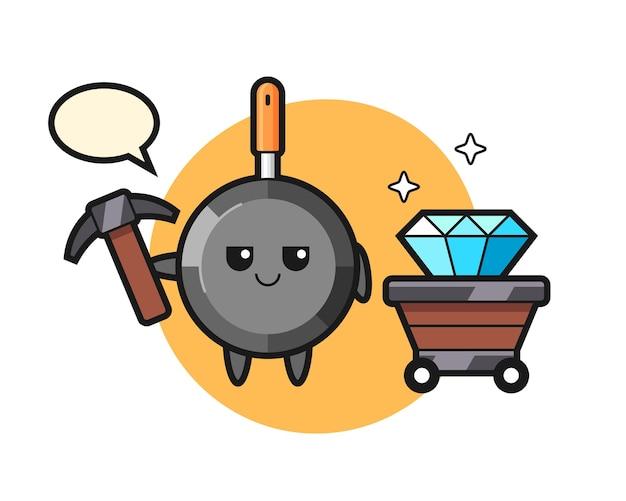 Frigideira personagem como um mineiro