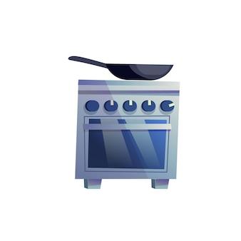 Frigideira plana dos desenhos animados de vetor no fogão com forno isolado no fundo vazio - móveis modernos para casa, conceito de elementos interiores de aparelhos de cozinha, design de banner de site da web