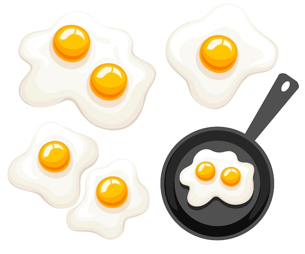 Frigideira, vista superior. panela com ovo frito. ilustração em fundo branco