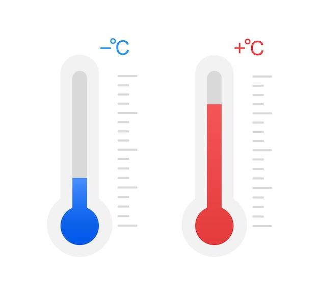 Frio e calor. temperatura abaixo de zero e acima de zero.