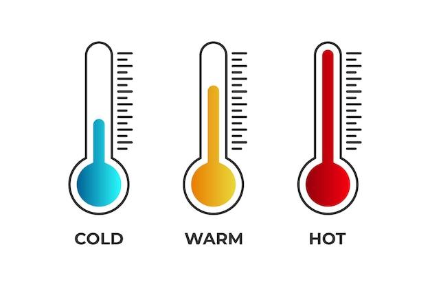 Frio quente quente medição termômetro escala temperatura médico azul amarelo e cor vermelha plana