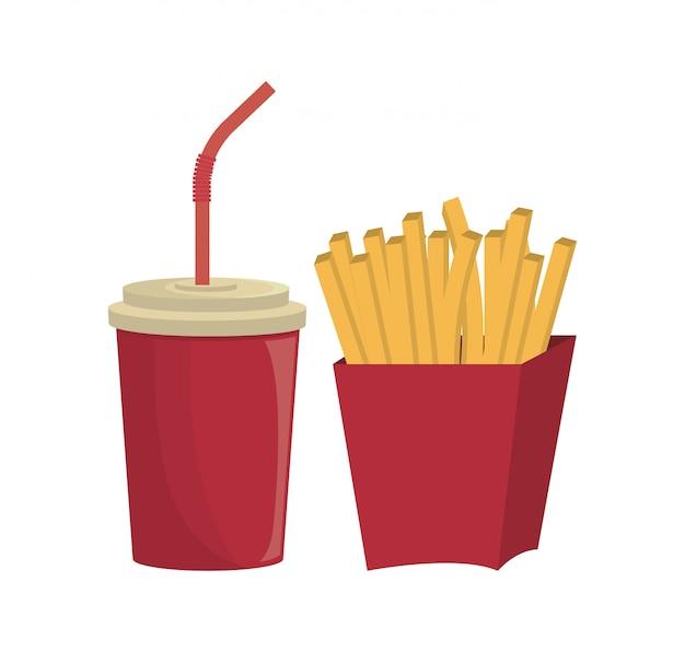 Fritas francês fast food design isolado
