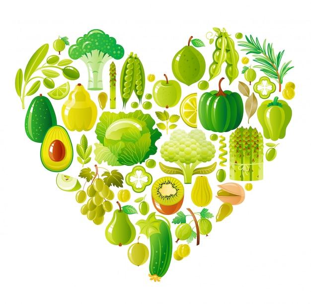 Friuts e legumes saudáveis coração verde, alimentos orgânicos
