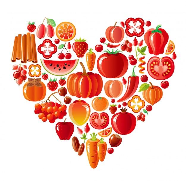 Friuts e legumes saudáveis coração vermelho, alimentos orgânicos