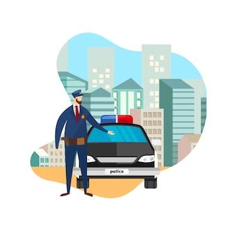Front view police officer standing no carro de trabalho.