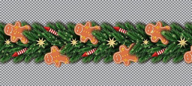 Fronteira com gingerbread man, galhos de árvores de natal, estrelas douradas e foguetes vermelhos