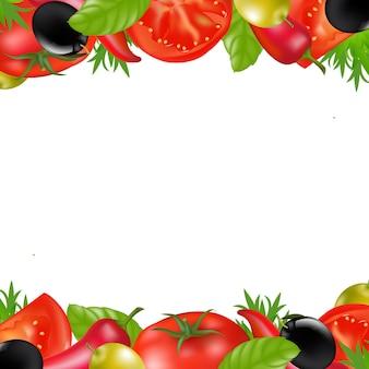 Fronteira com legumes, isolado no fundo branco, ilustração