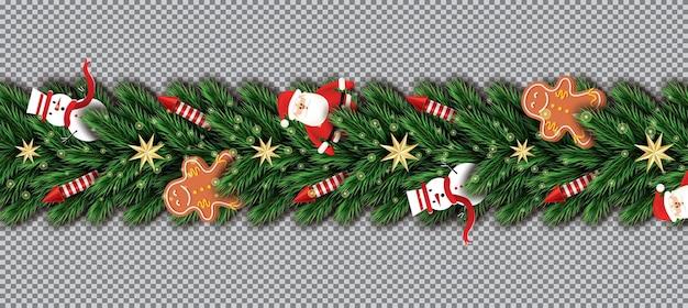 Fronteira com papai noel, galhos de árvore de natal, estrelas douradas, foguetes vermelhos, boneco de neve e homem-biscoito