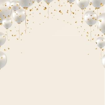 Fronteira de aniversário e balões brancos sobre fundo cinza