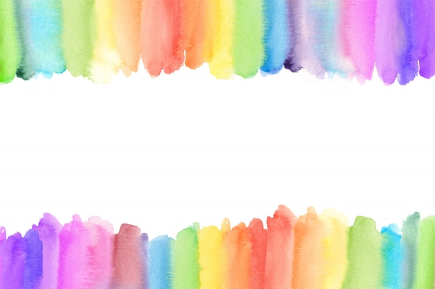 Fronteira de arco-íris em aquarela. fundo pintado arco-íris