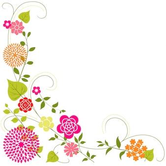 Fronteira de canto floral com fundo laranja e rosa flores
