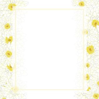 Fronteira de cartão de banner de crisântemo branco